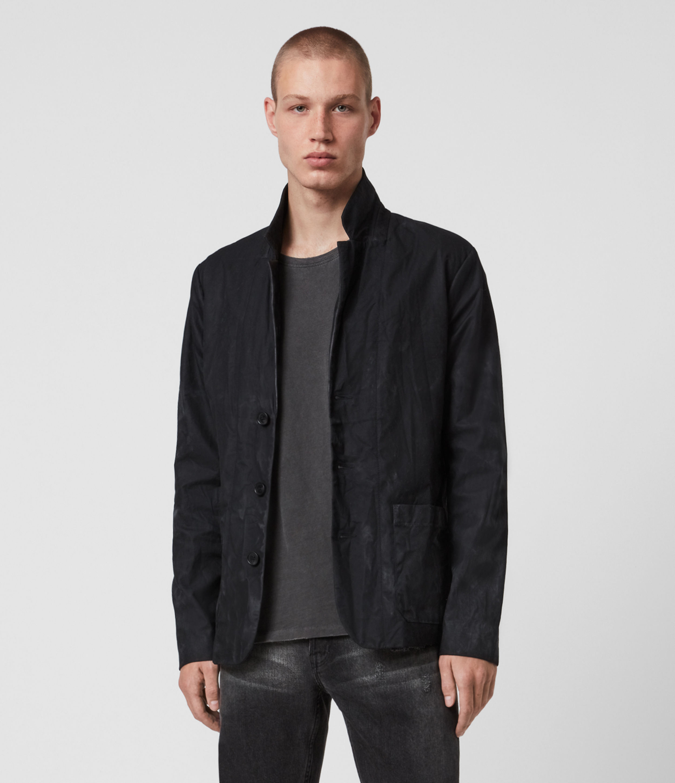 AllSaints Men's Barley British Waxed Cotton Blazer, Black, Size: 44