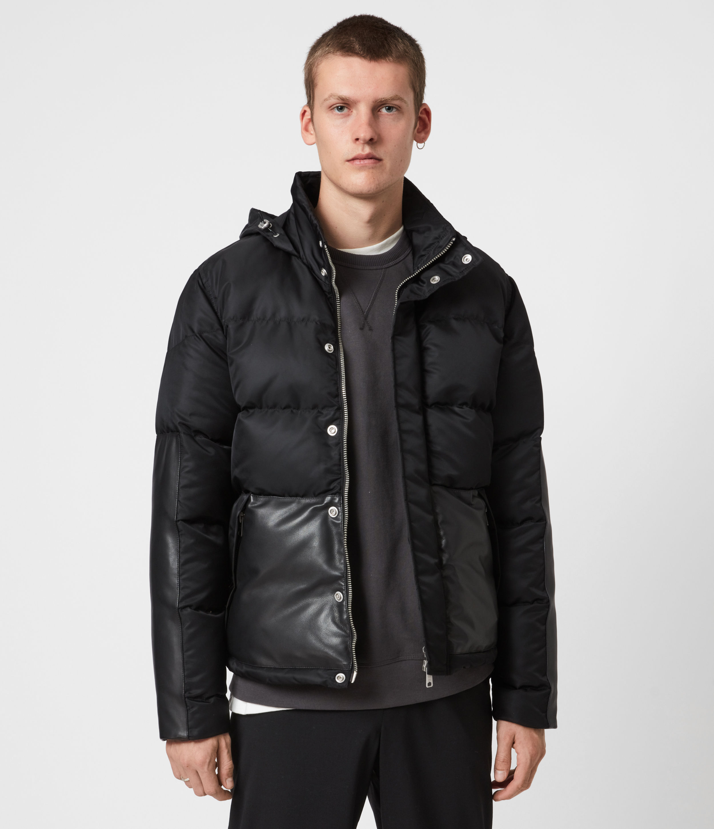 AllSaints Men's Leather Relaxed Fit Varden Puffer Coat, Black, Size: L