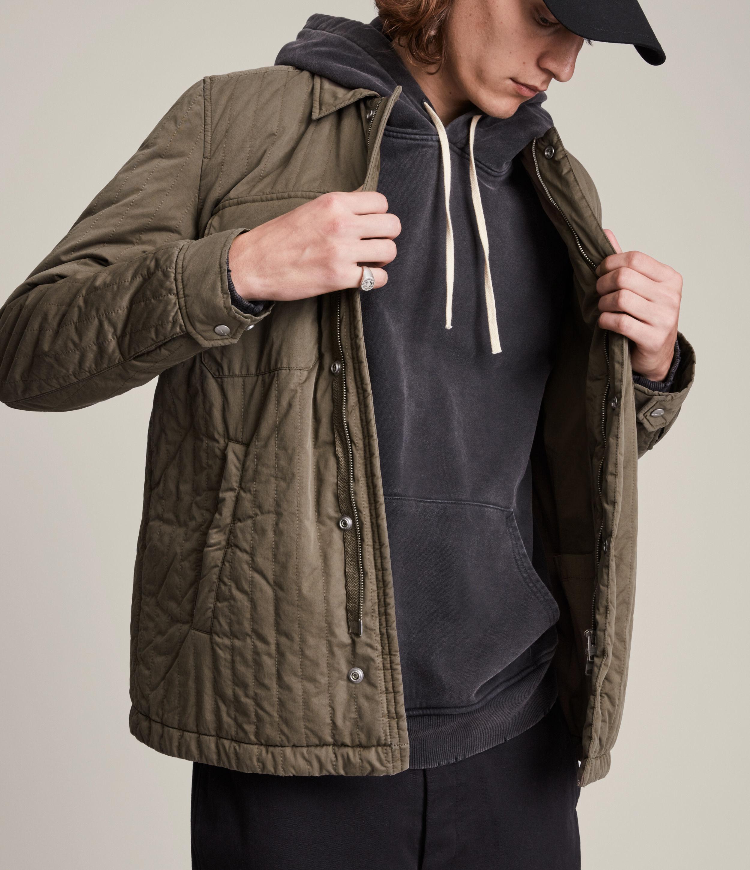 AllSaints Men's Archer Jacket, Dark Khaki, Size: M