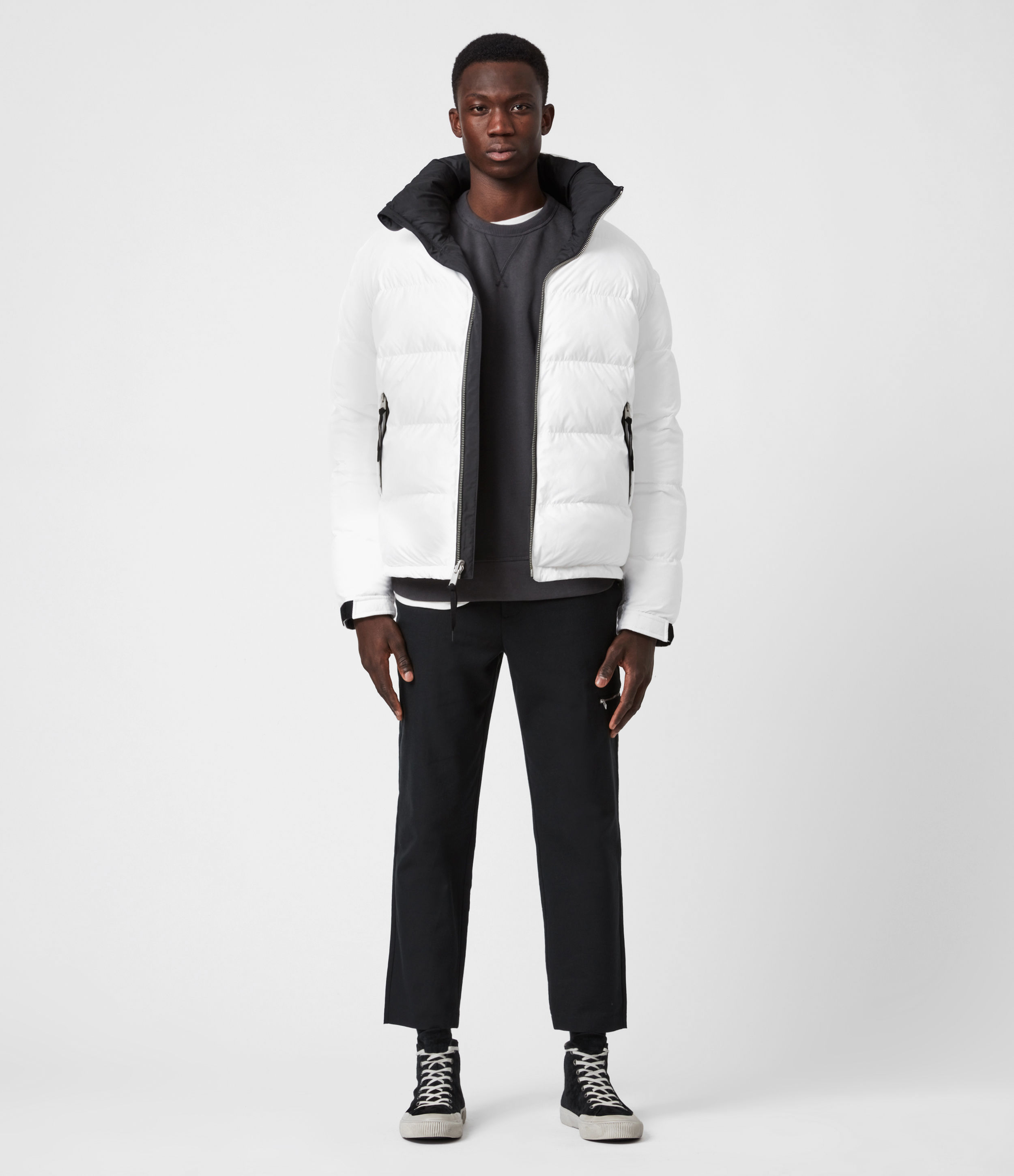 AllSaints Mens Novem Reversible Puffer Coat, Optic White/Black, Size: XXL