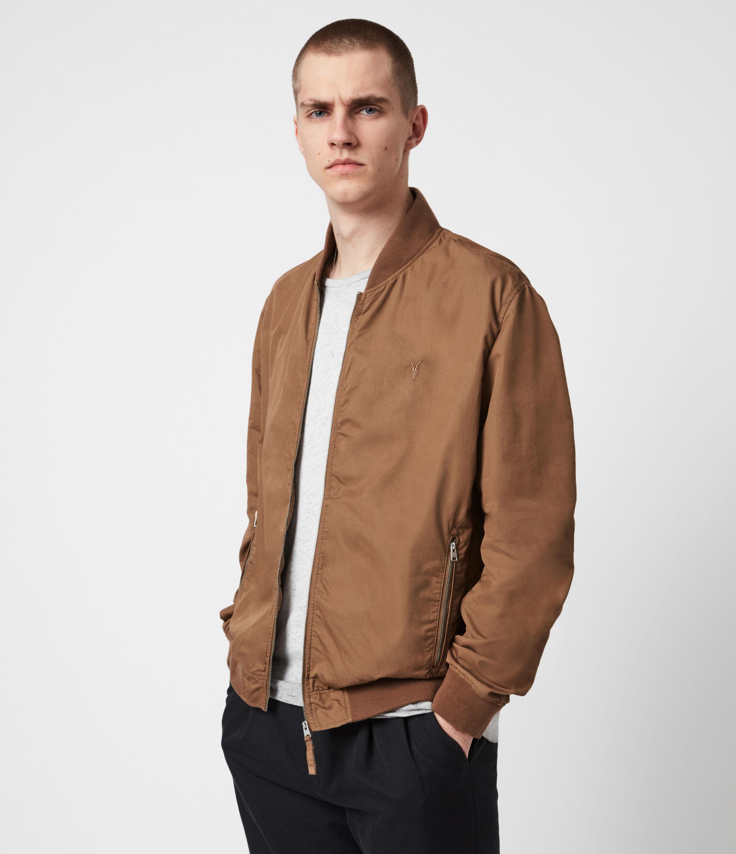 AllSaints Men's Bassett Bomber Jacket, Caenstone Brown, Size: XS