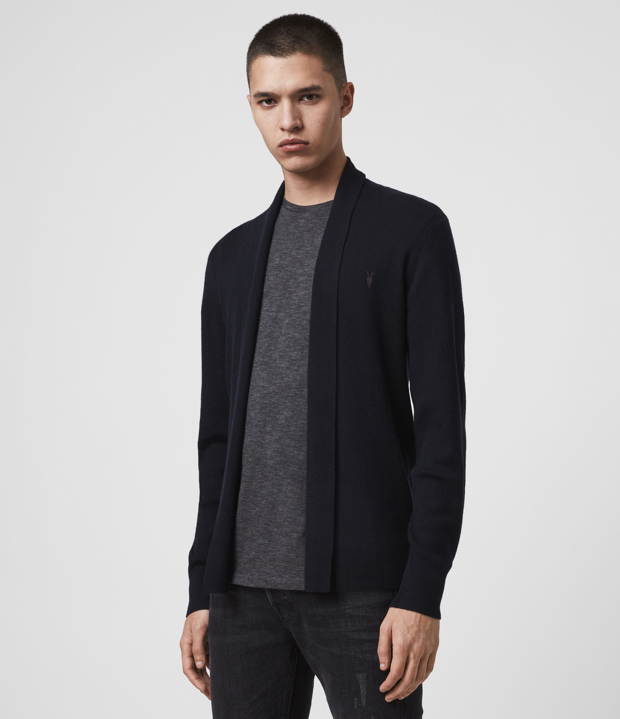 AllSaints Men's Merino Wool Lightweight Mode Open Cardigan, Blue, Size: L