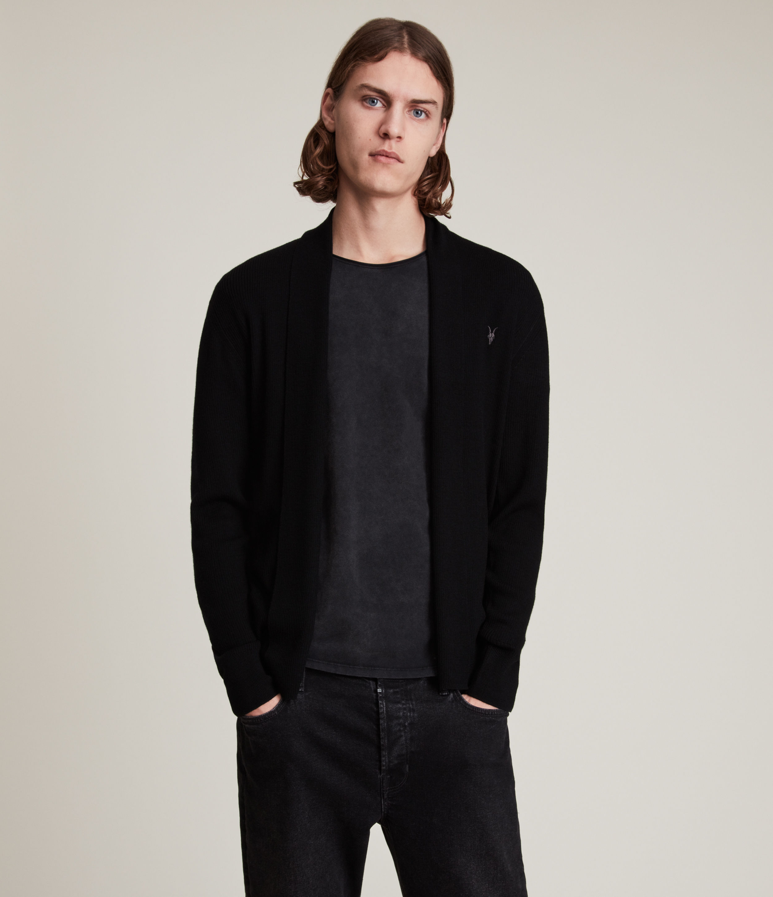 AllSaints Men's Merino Wool Lightweight Mode Cardigan, Black, Size: S