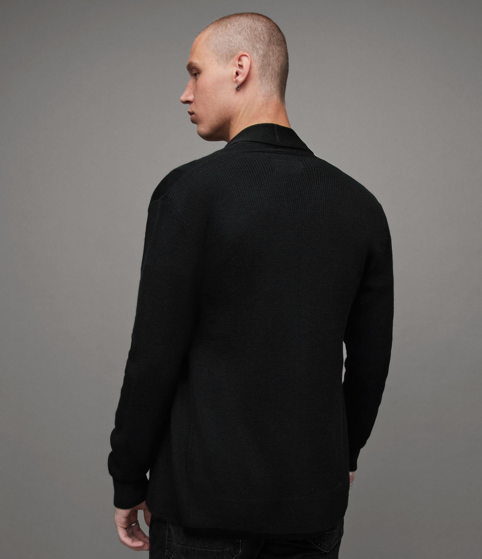 AllSaints Men's Merino Wool Lightweight Mode Cardigan, Black, Size: L