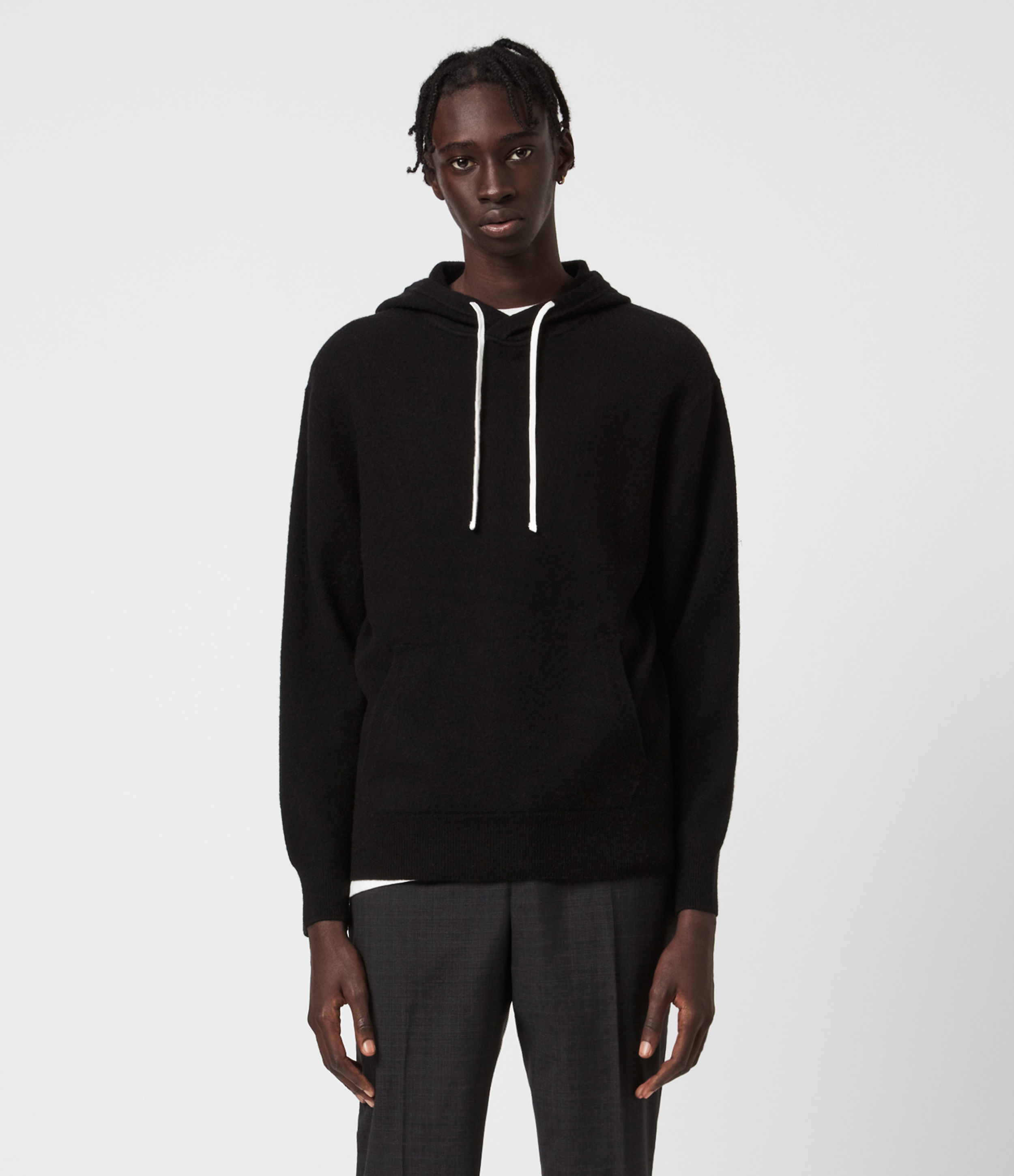 AllSaints Men's Wool Relaxed Fit Lori Hoodie, Black, Size: S