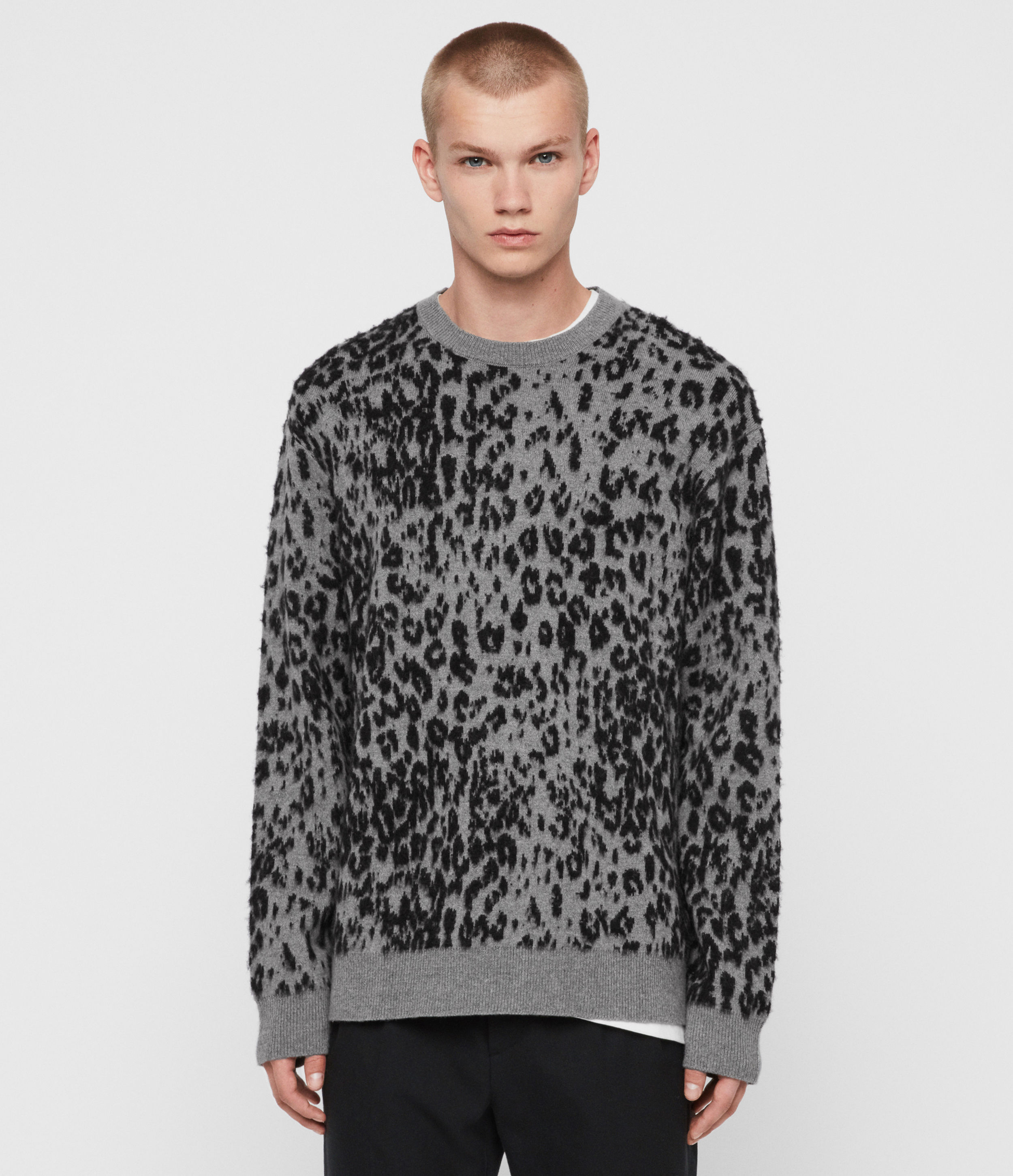 AllSaints Men's Wool Leopard Print Relaxed Fit Wildcat Crew Jumper, Grey and Black, Size: M