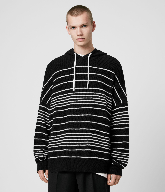 AllSaints Men's Wool Striped Lightweight Stripe Reverb Hoodie, Black and Cream, Size: S