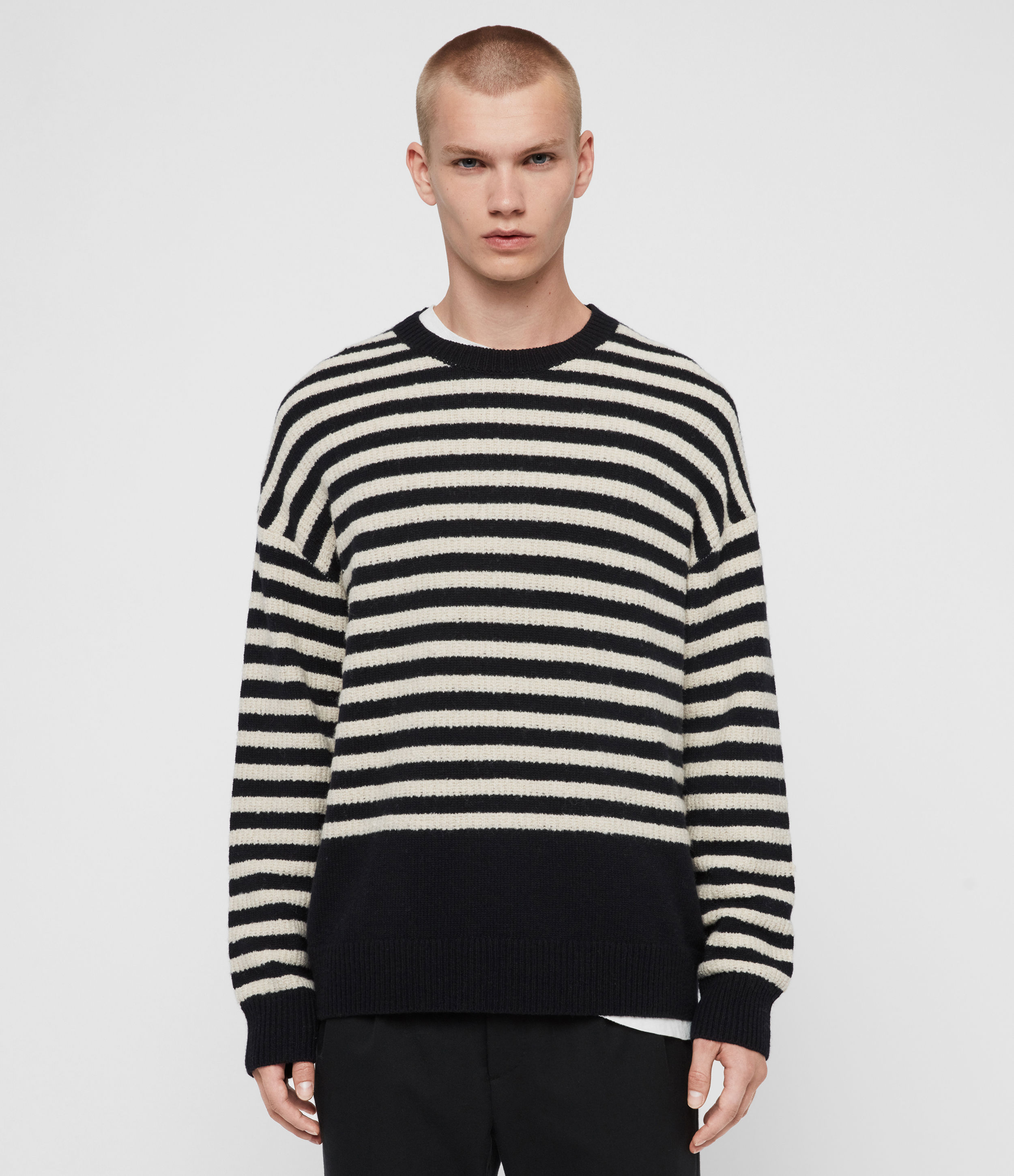 AllSaints Men's Cotton Stripe Keet Crew Jumper, Blue and White, Size: M