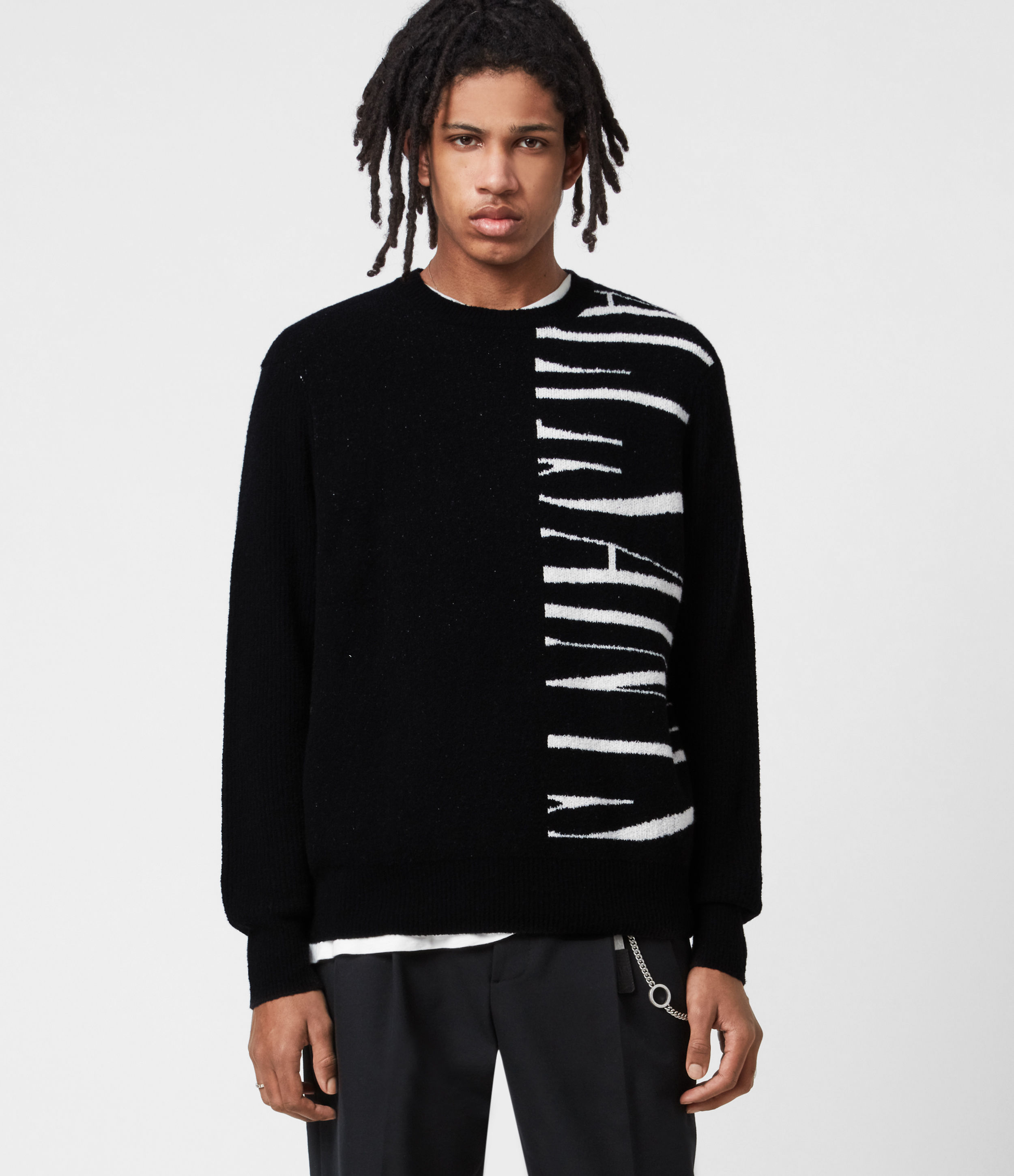 AllSaints Mens Vex Saints Crew Jumper, Black, Size: XL