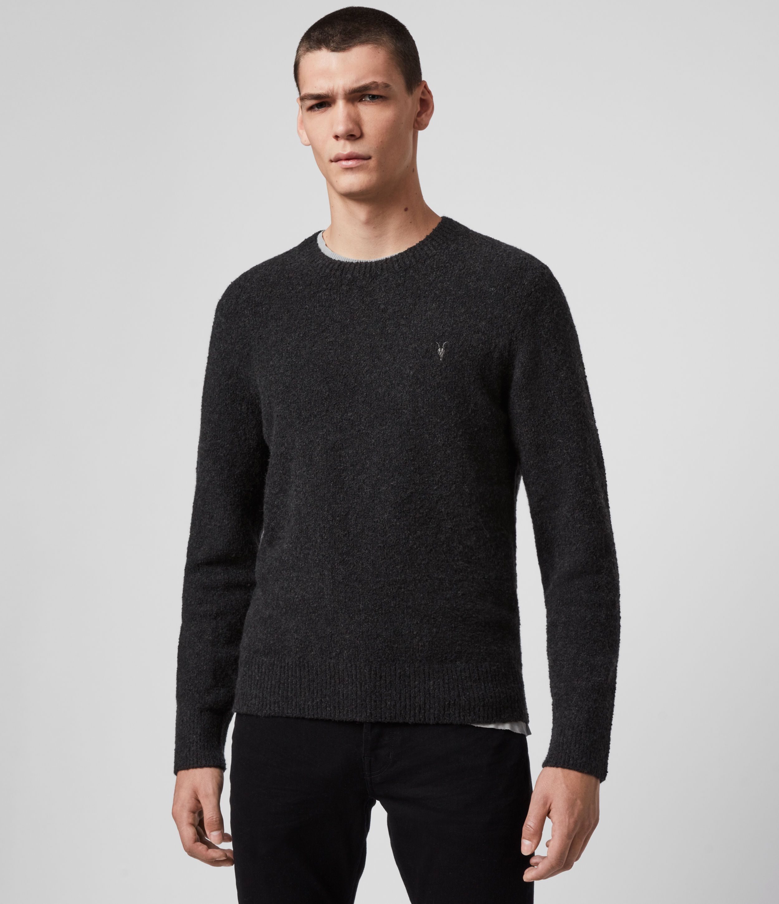 AllSaints Men's Cotton Regular Fit Tolnar Crew Jumper, Black, Size: XXL