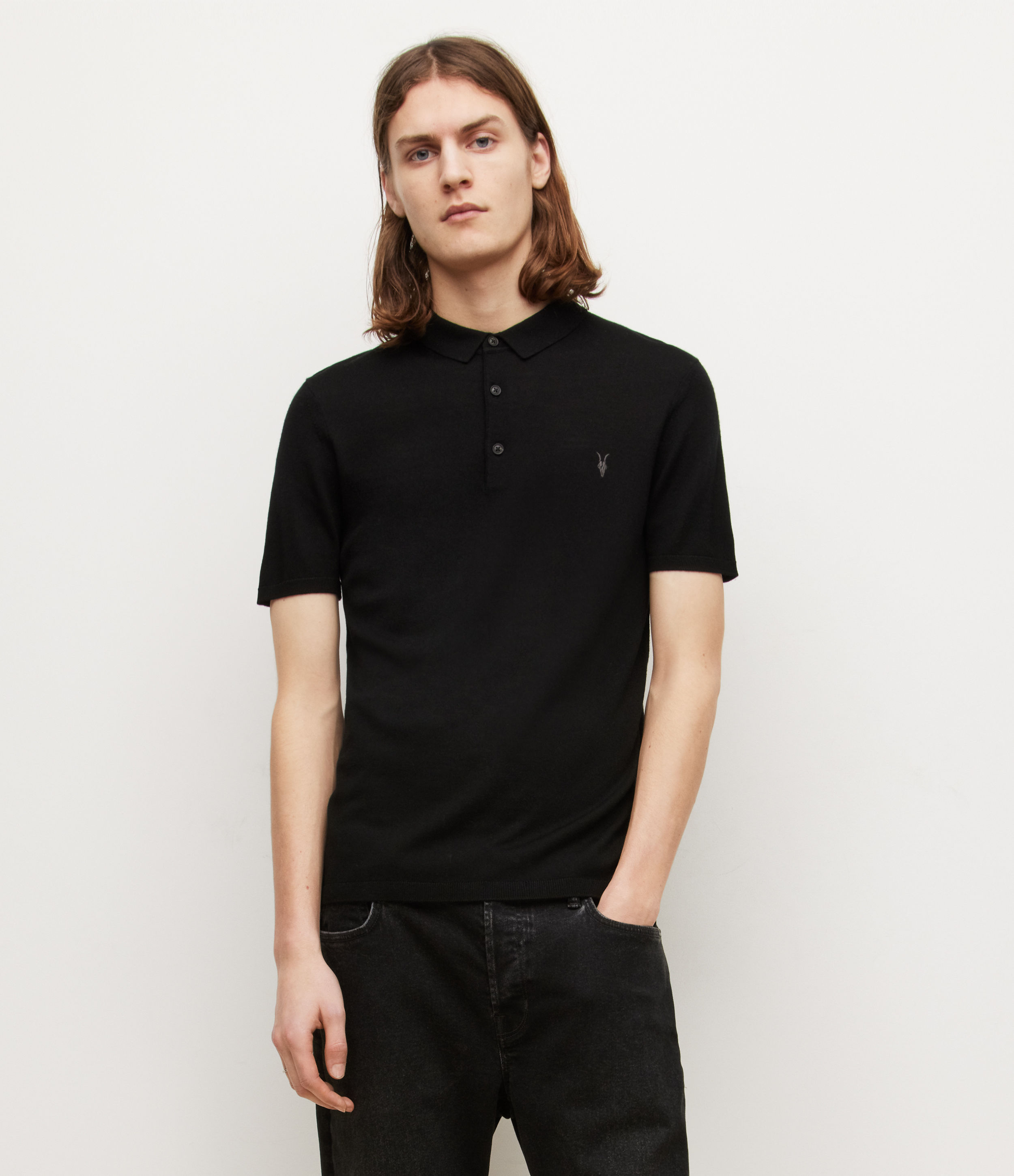 AllSaints Men's Merino Wool Slim Fit Mode Short Sleeve Polo Shirt, Black, Size: XS