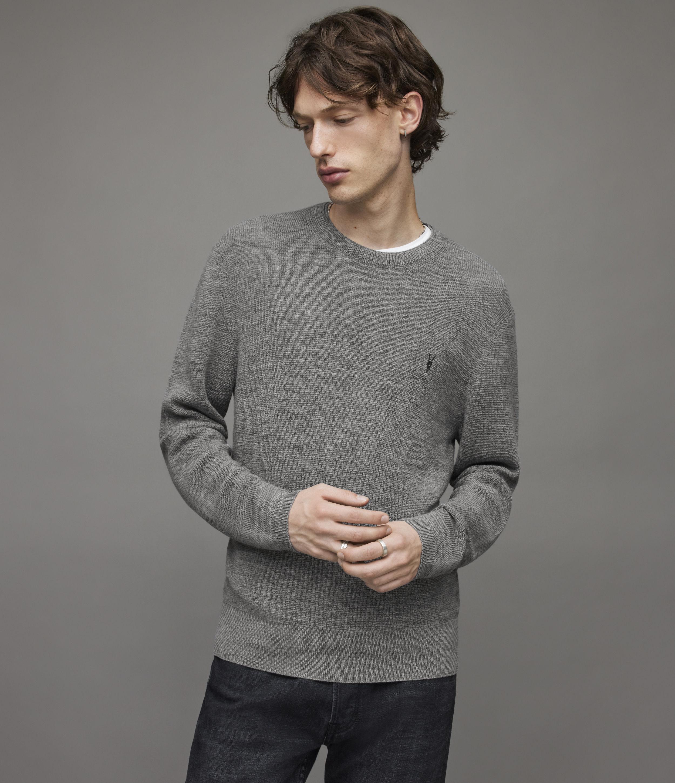 AllSaints Men's Regular Fit Merino Wool Ivar Crew Jumper, Grey, Size: M