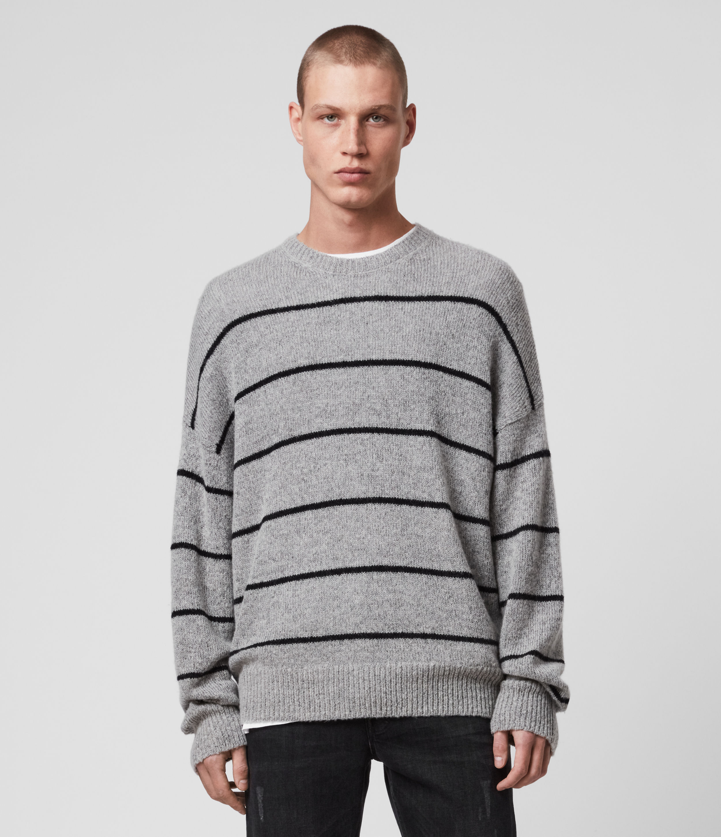 AllSaints Mens Flander Crew Jumper, Grey and Black, Size: S