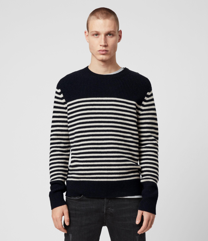 AllSaints Men's Cotton Stripe Regular Fit Carnon Crew Jumper, Navy Blue and Cream, Size: S