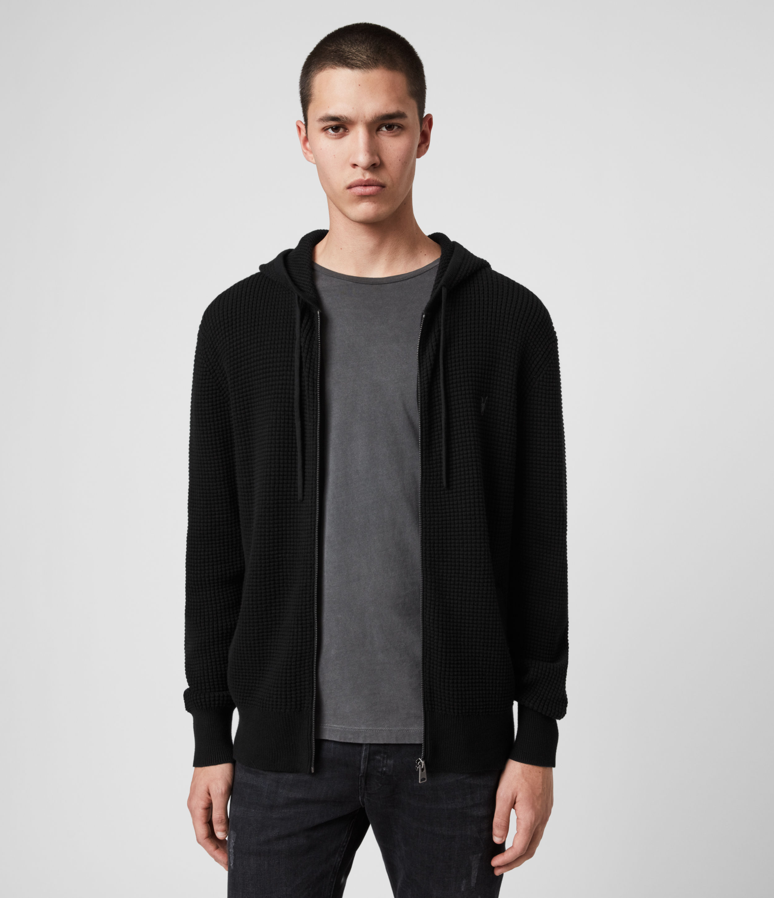 AllSaints Men's Cotton Lightweight Wells Hoodie, Black, Size: XS