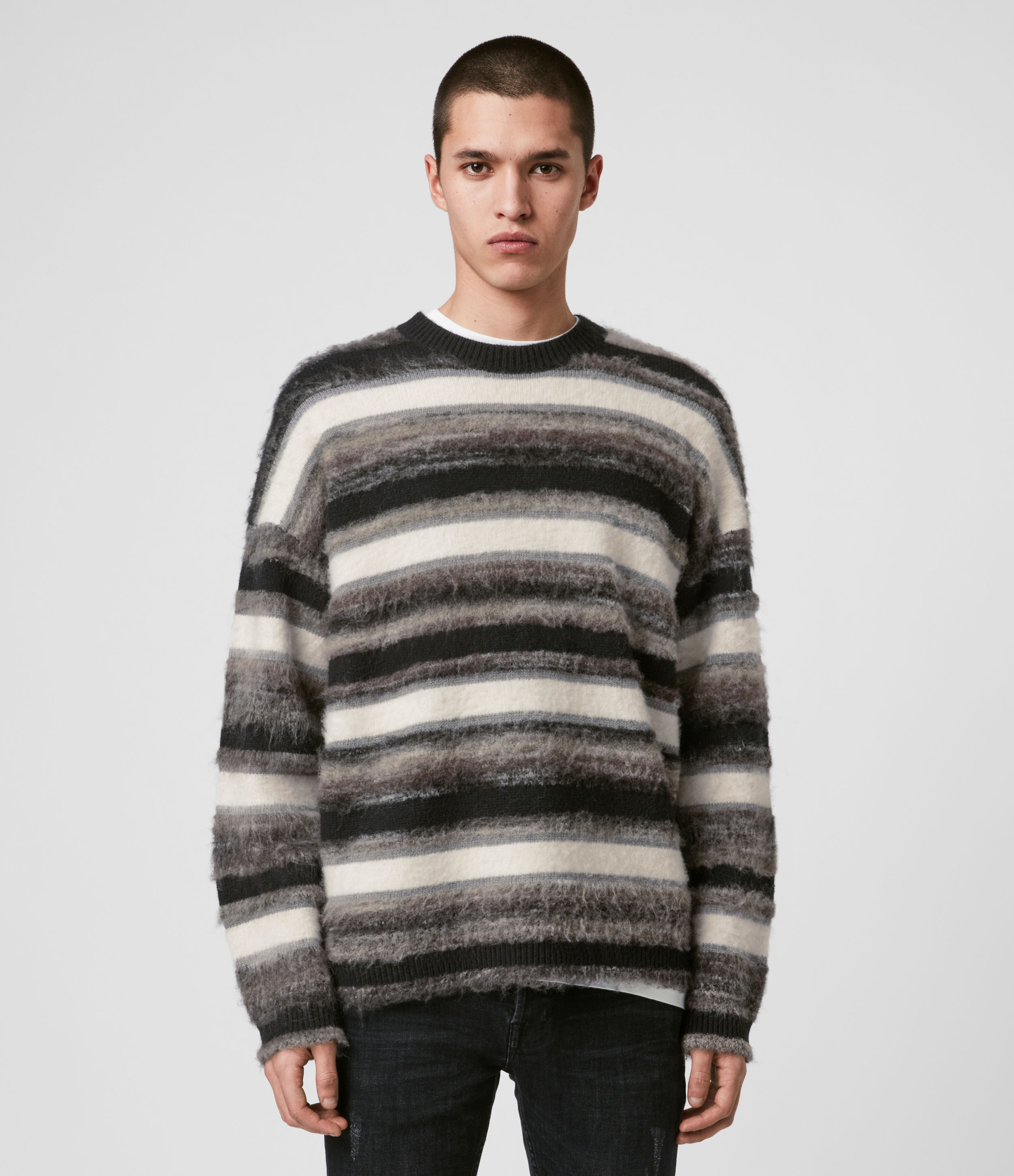 AllSaints Mens Lerryn Crew Jumper, Black and Grey, Size: S