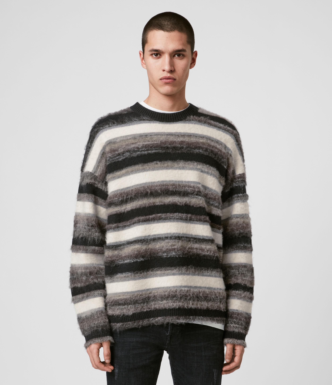 AllSaints Men's Wool Stripe Lerryn Crew Jumper, Black and Grey, Size: XS