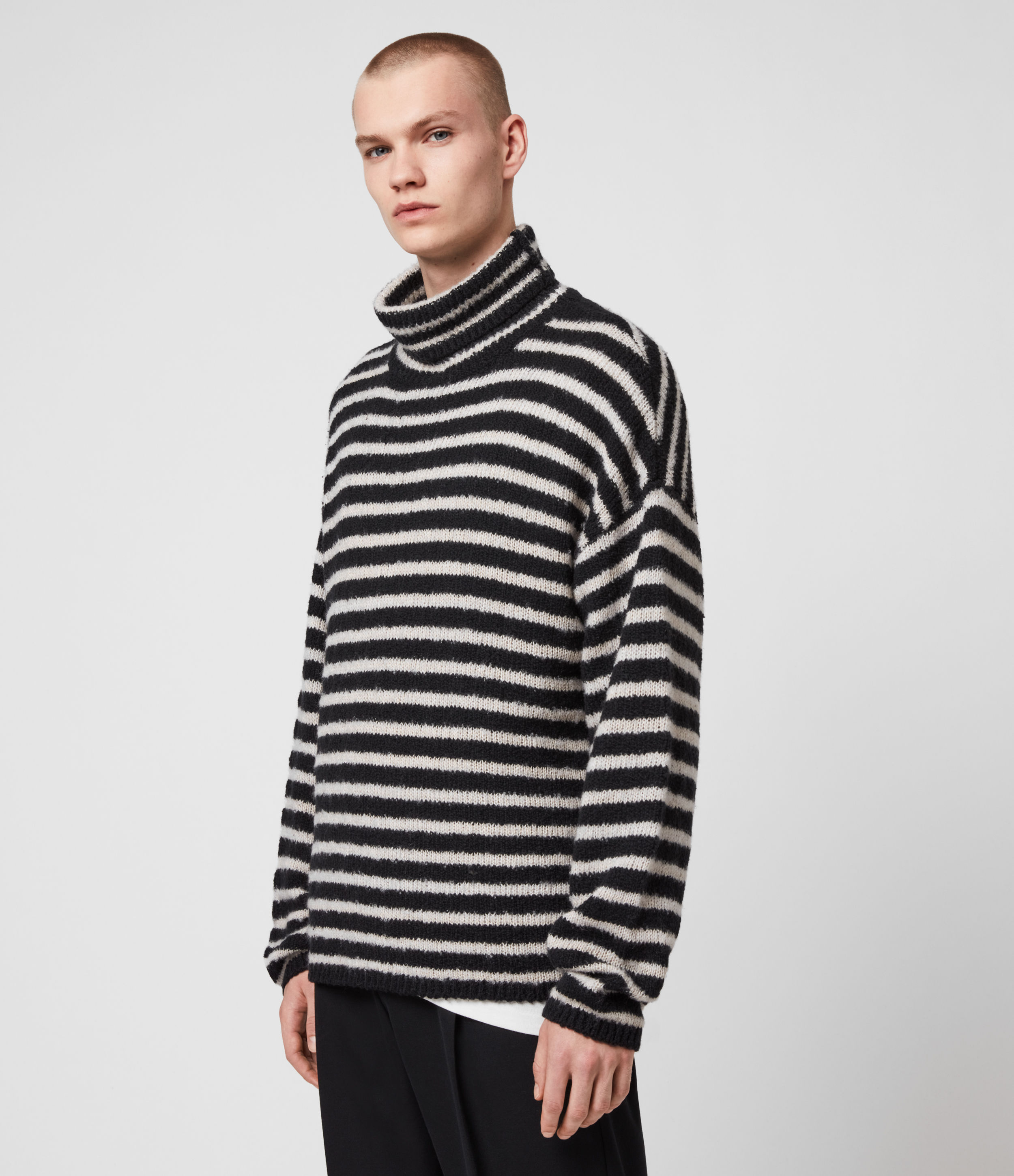 AllSaints Men's Cotton Stripe Alderney Funnel Neck Jumper, Black and White, Size: M