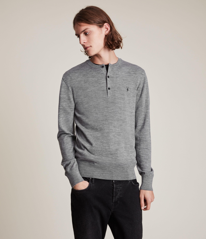 AllSaints Mens Mode Merino Henley, Grey Marl, Size: M