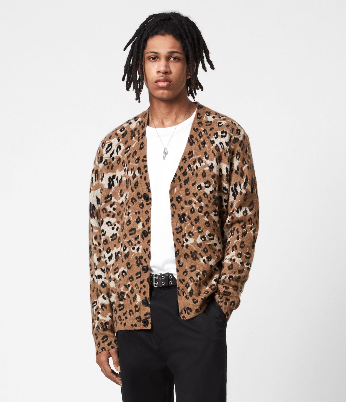 AllSaints Mens Camo Cat Cardigan, Acorn Brown, Size: S