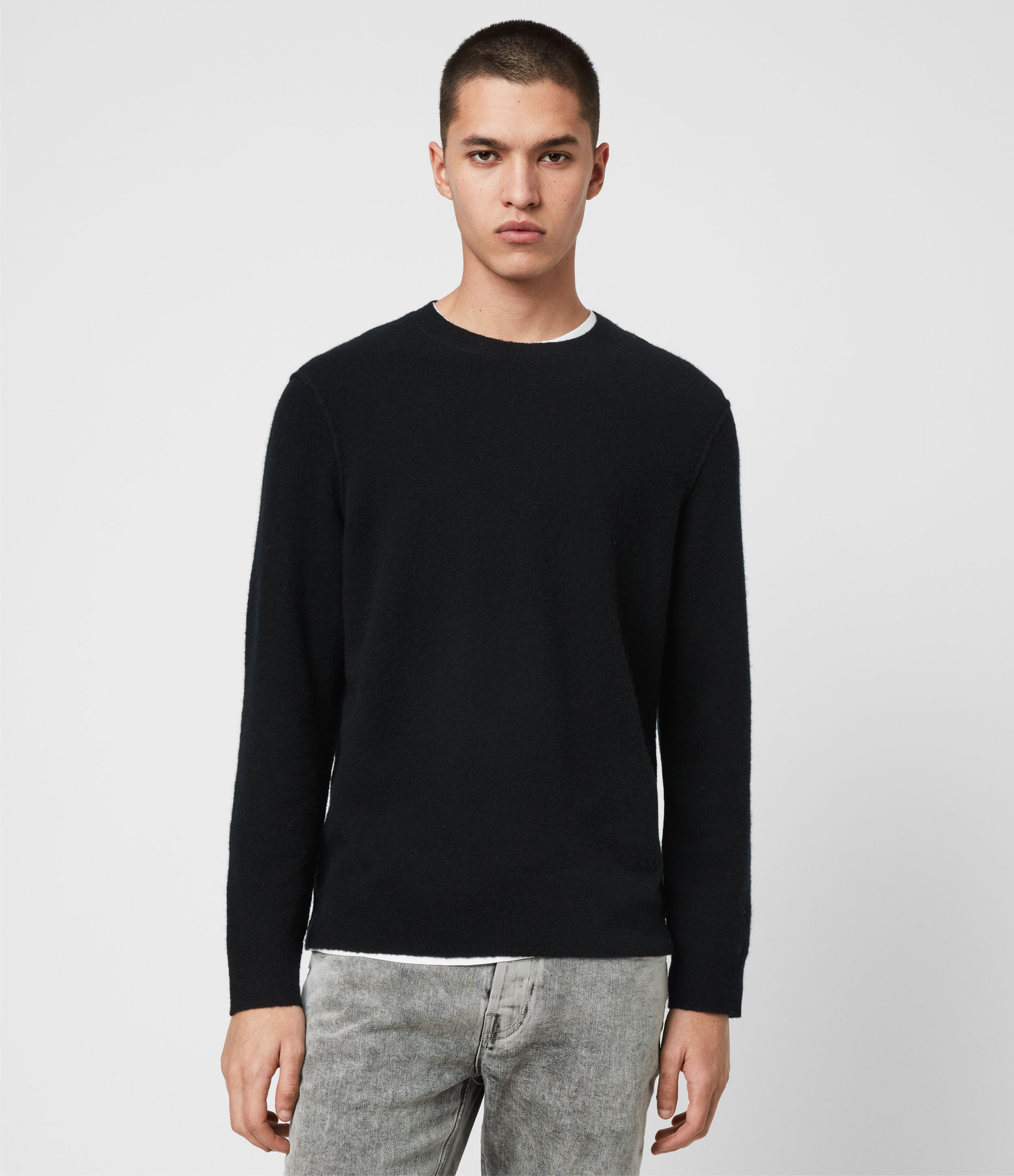 AllSaints Men's Wool Relaxed Fit Austell Crew Cashmere Blend Jumper, Black, Size: XS