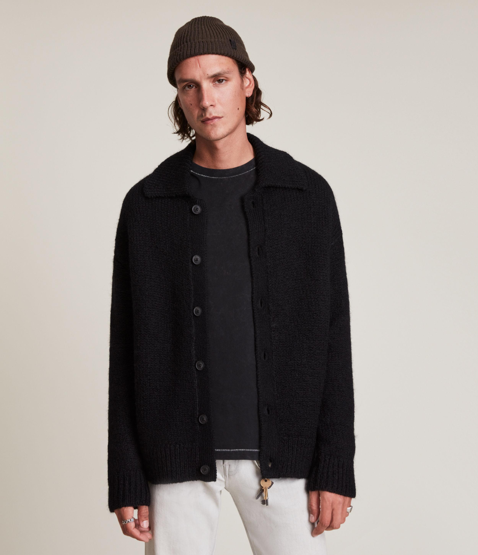 AllSaints Men's Octave Cardigan, Black, Size: XXL