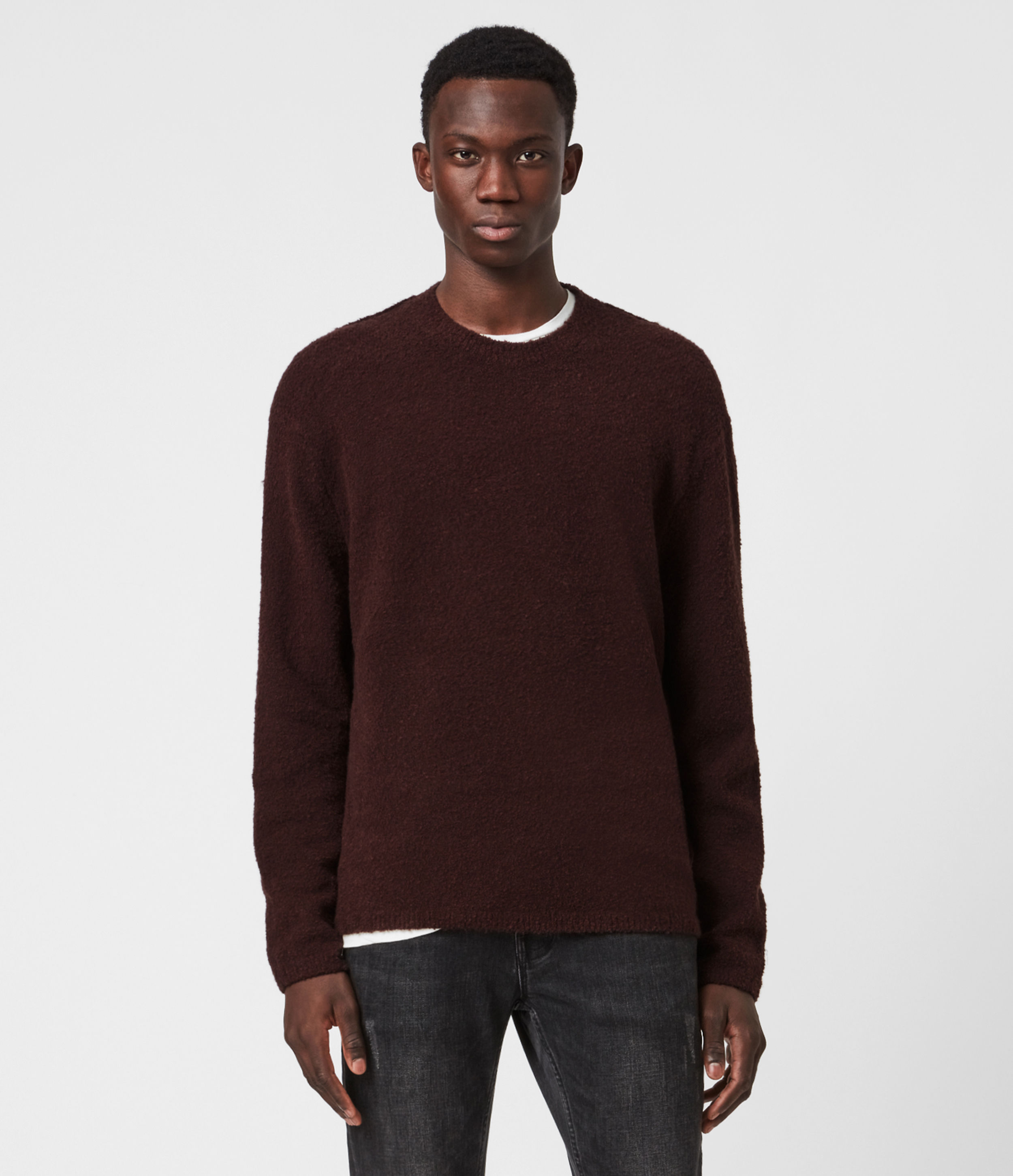 AllSaints Men's Cotton Classic Eamont Crew Jumper, Red, Size: S