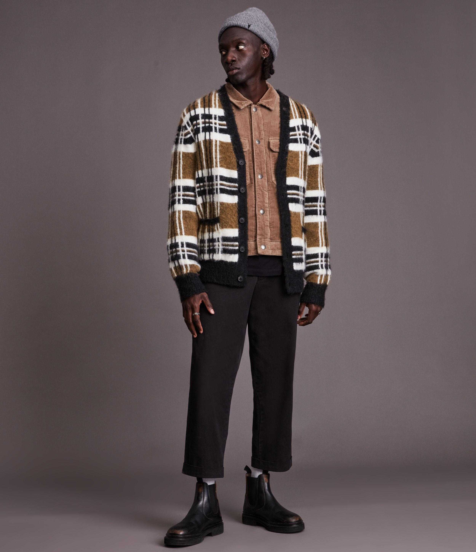 AllSaints Men's Sid Cardigan, Brown/White/Black, Size: L