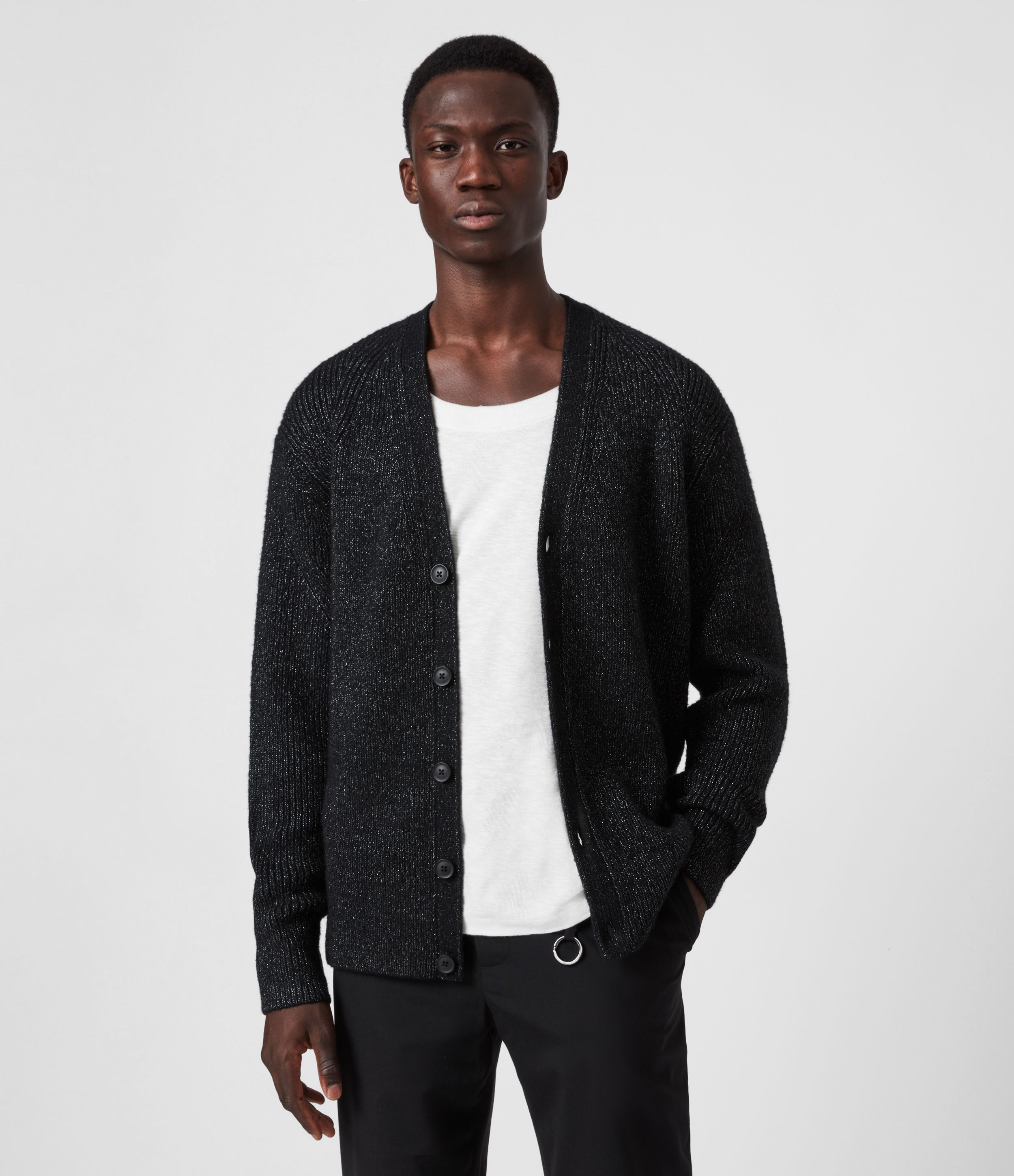 AllSaints Men's Wool Texture Relaxed Fit Cosmic Cardigan, Black, Size: XS