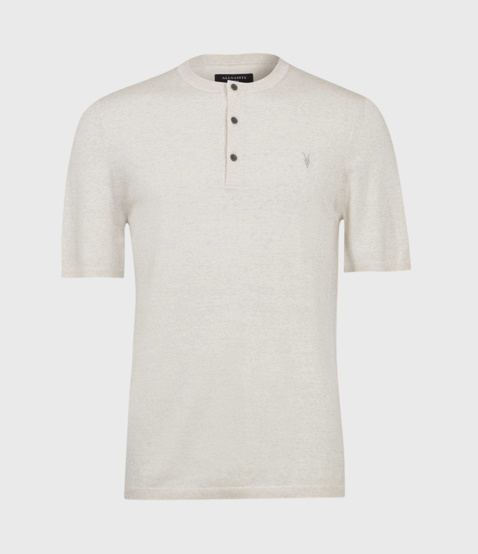 AllSaints Mens Mode Merino Henley T-Shirt, Pine Ecru Marl, Size: M
