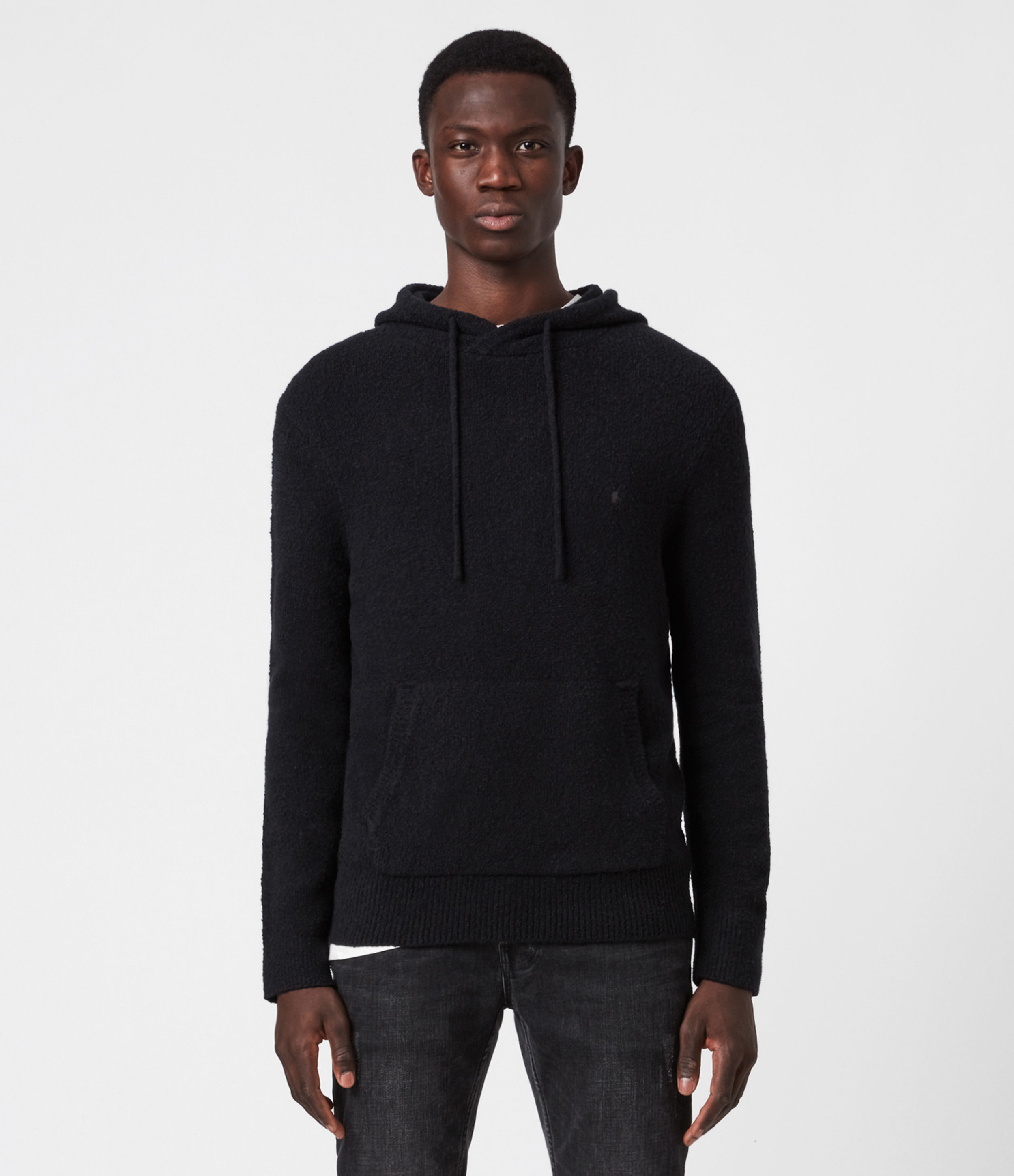 AllSaints Men's Cotton Regular Fit Tolnar Hoodie, Black, Size: L