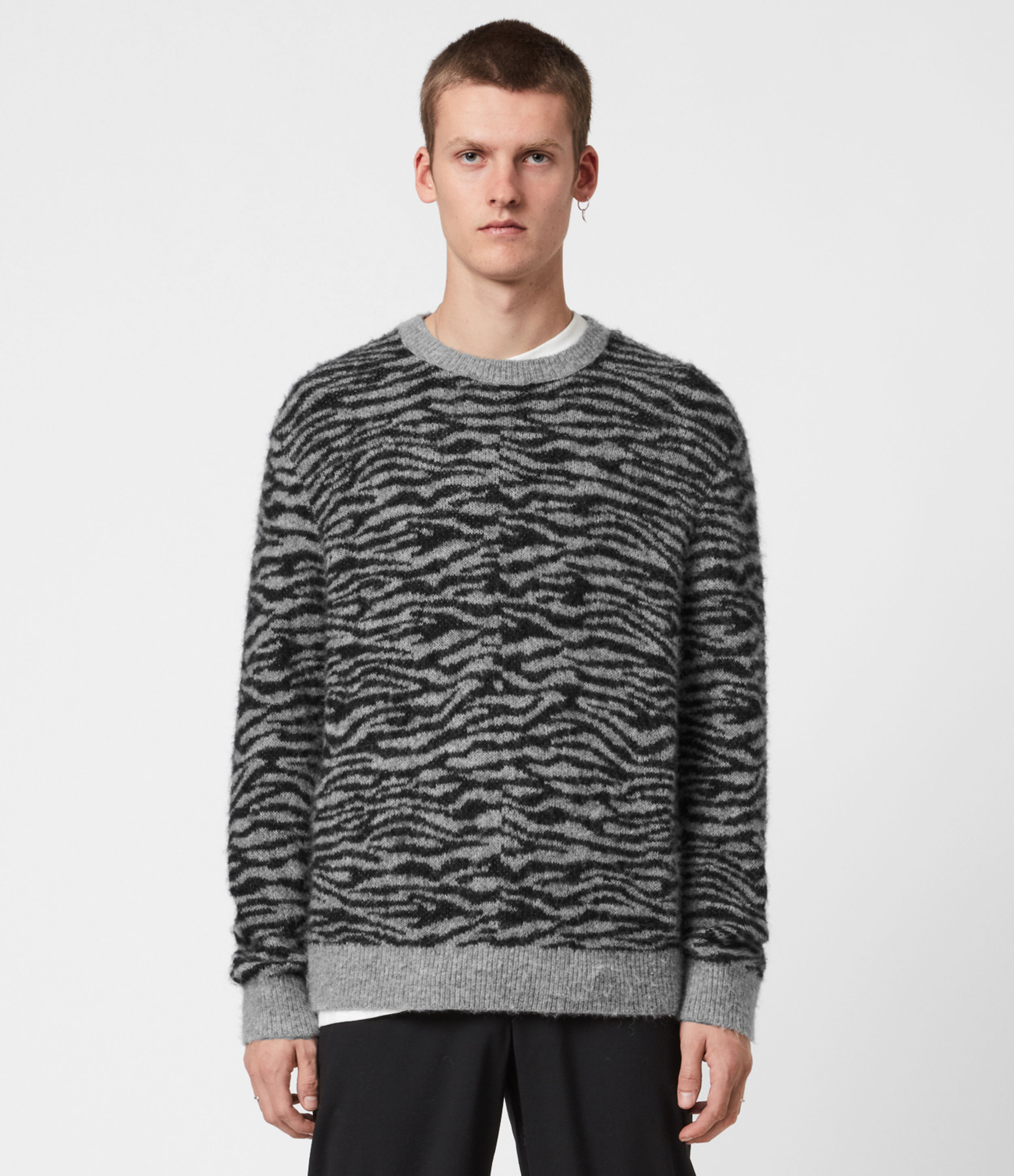 AllSaints Mens Askell Crew Jumper, Grey Marl, Size: S