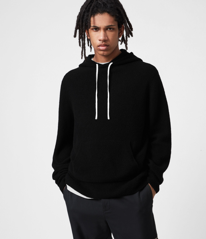 AllSaints Mens Aurel Hoodie, Black, Size: L