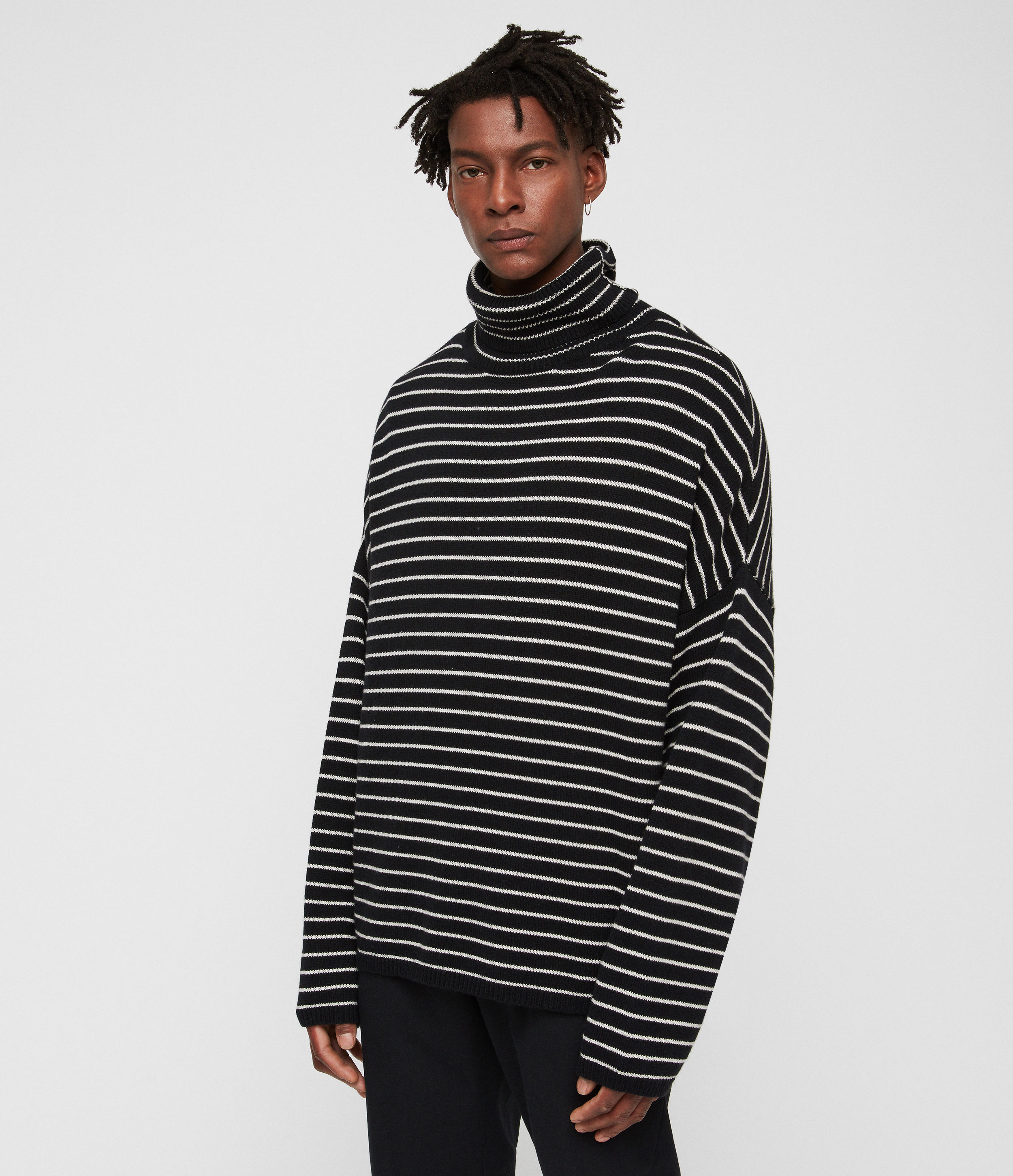 AllSaints Men's Wool Stripe Relaxed Fit Marty Funnel Neck Jumper, Black and White, Size: XS