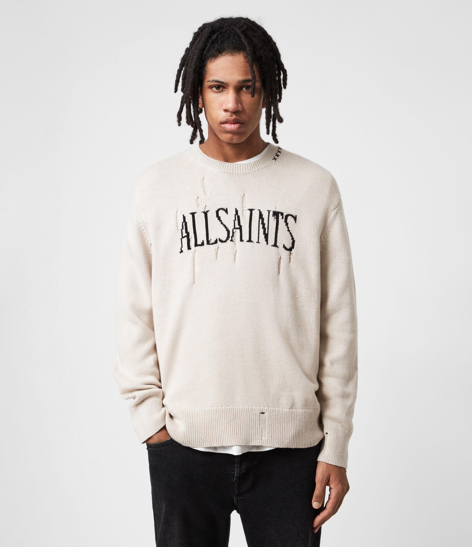 AllSaints Men's Cotton Destroy Saints Jumper, Beige, Size: XL