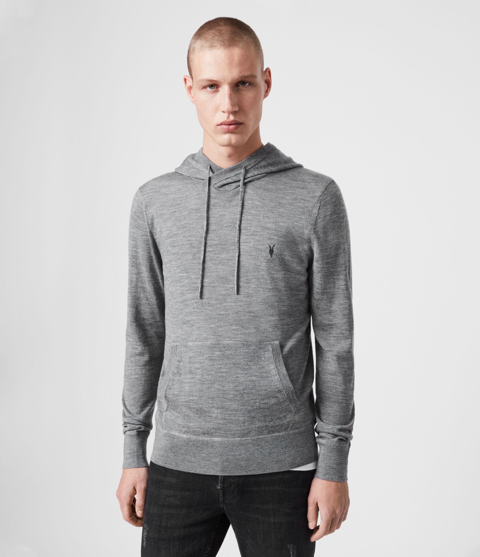 AllSaints Men's Merino Wool Lightweight Mode Pullover Hoodie, Grey, Size: XS