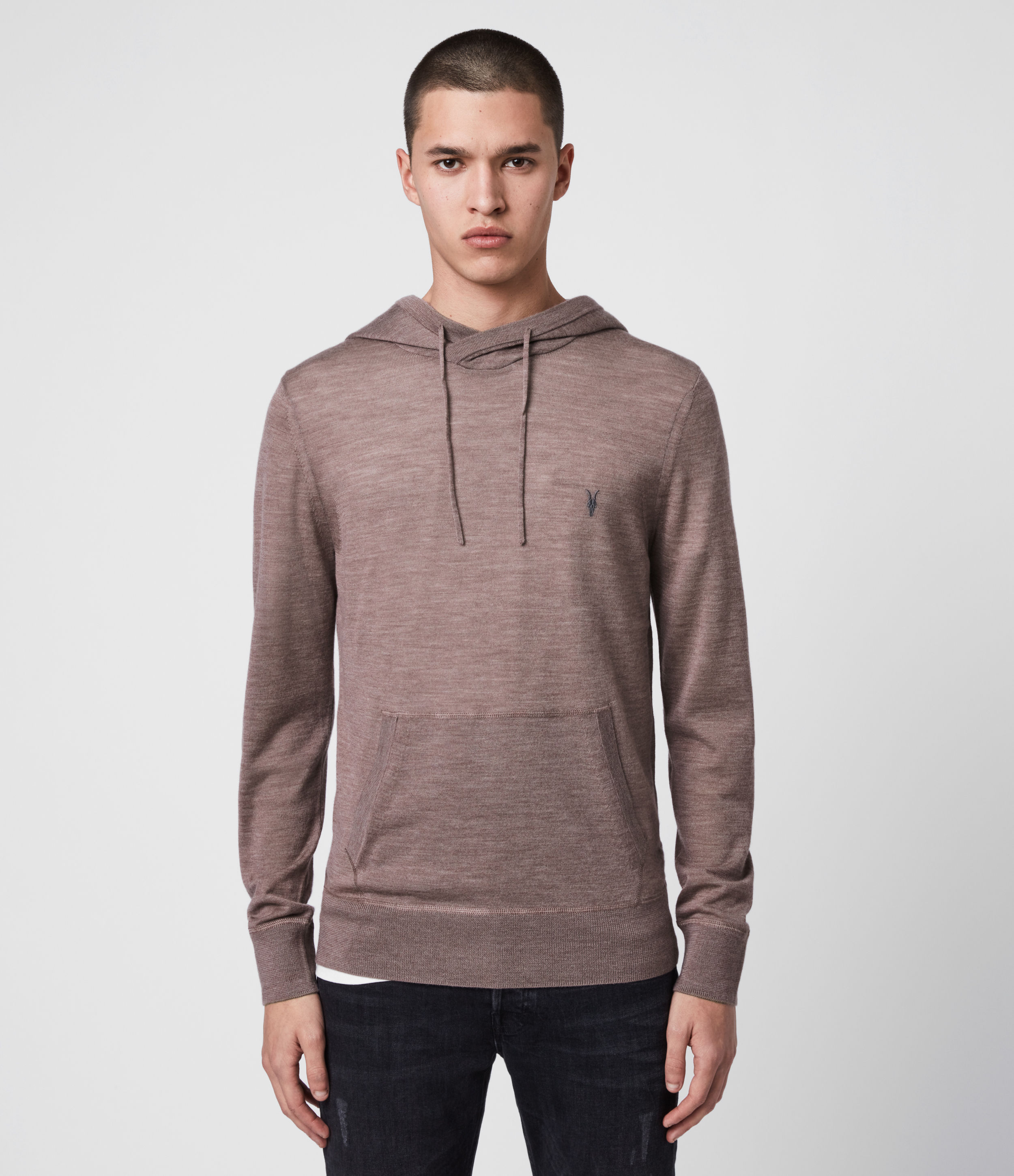 AllSaints Mens Mode Merino Hoodie, Heather Pink Marl, Size: S