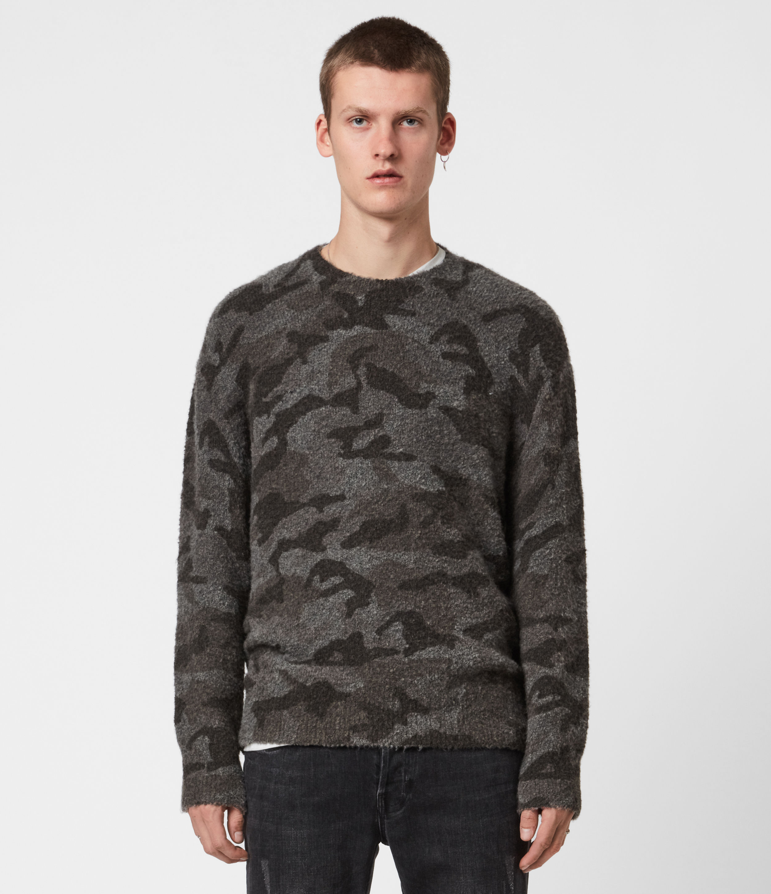 AllSaints Men's Wool Camouflage Stealth Crew Jumper, Grey and Brown, Size: XL