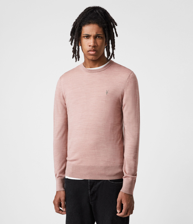 AllSaints Men's Mode Merino Crew Jumper, Balsastone Pink ML, Size: XL