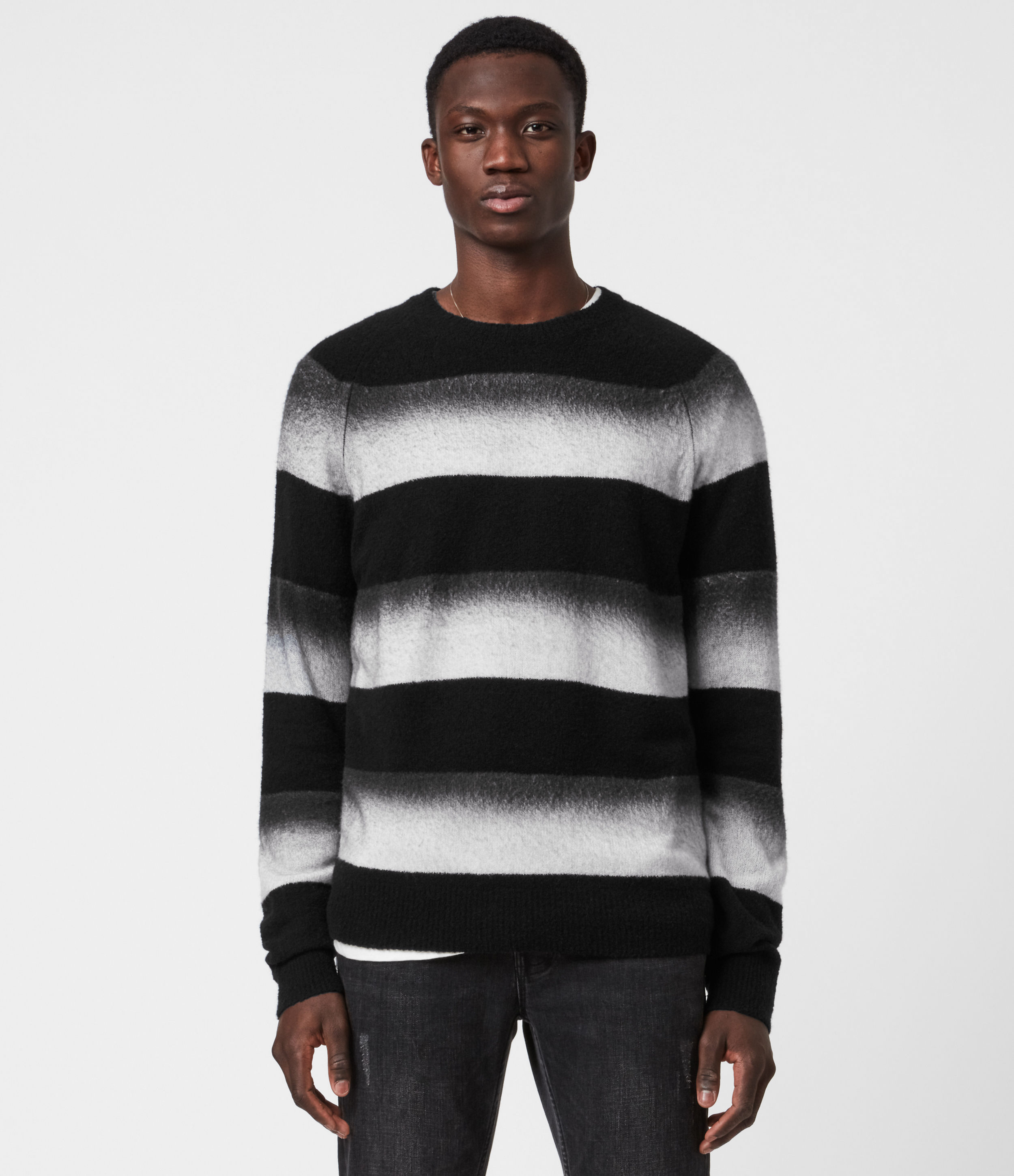 AllSaints Men's Wool Striped Relaxed Fit Arbour Fade Crew Neck Jumper, Black and Grey, Size: L