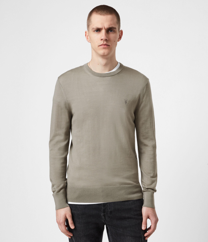 AllSaints Men's Merino Wool Lightweight Mode Crew Neck Jumper, Grey, Size: L