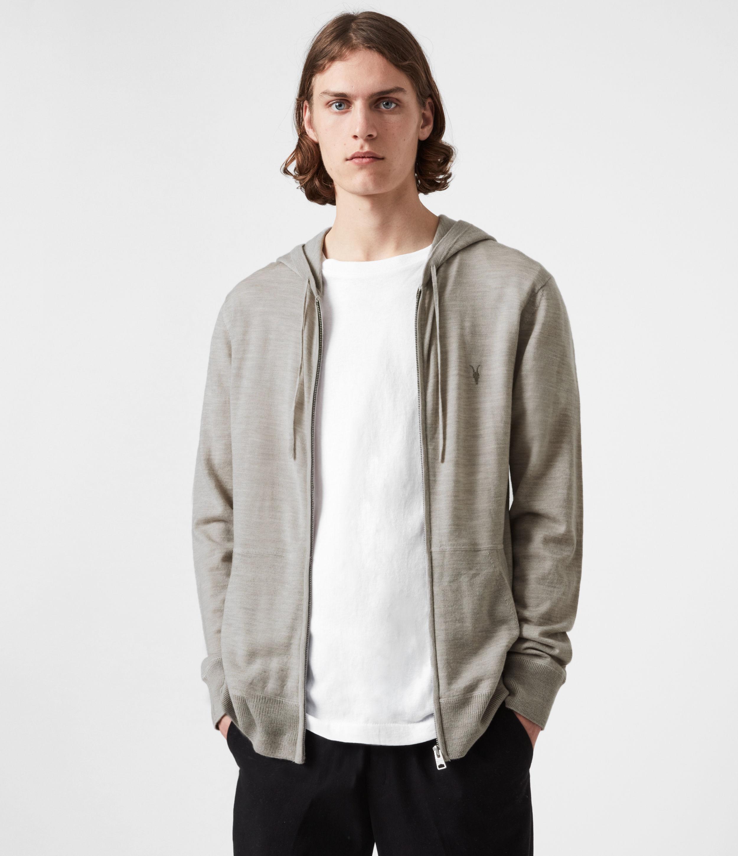 AllSaints Mens Mode Merino Zip Hoodie, Corazon Taupe Marl, Size: L