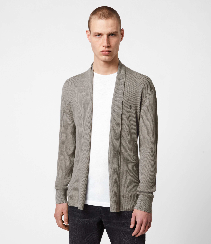 AllSaints Mens Mode Merino Open Cardigan, Calke Green, Size: M