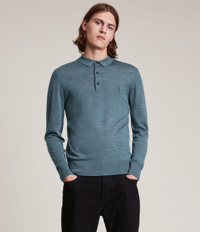 AllSaints Men's Mode Merino Long Sleeve Polo Shirt, Adventurer Blue ML, Size: XS