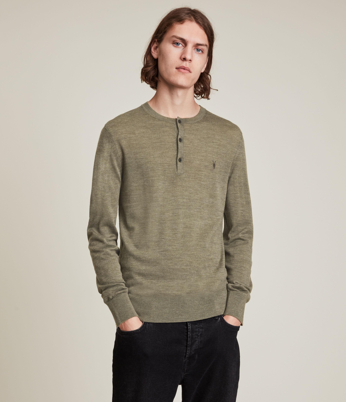 AllSaints Men's Mode Merino Long Sleeve Henley, Green, Size: S