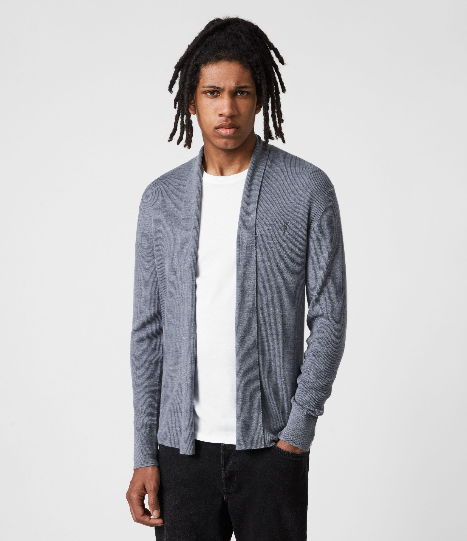 AllSaints Mens Mode Merino Open Cardigan, Twilight Blue Marl, Size: M