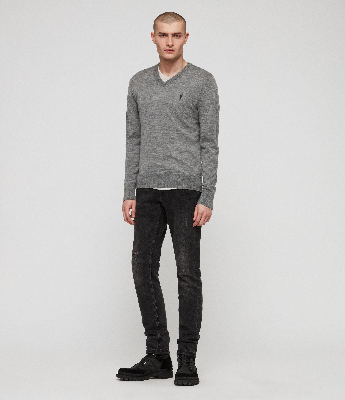 AllSaints Men's Mode Merino V-neck Jumper, Grey, Size: S