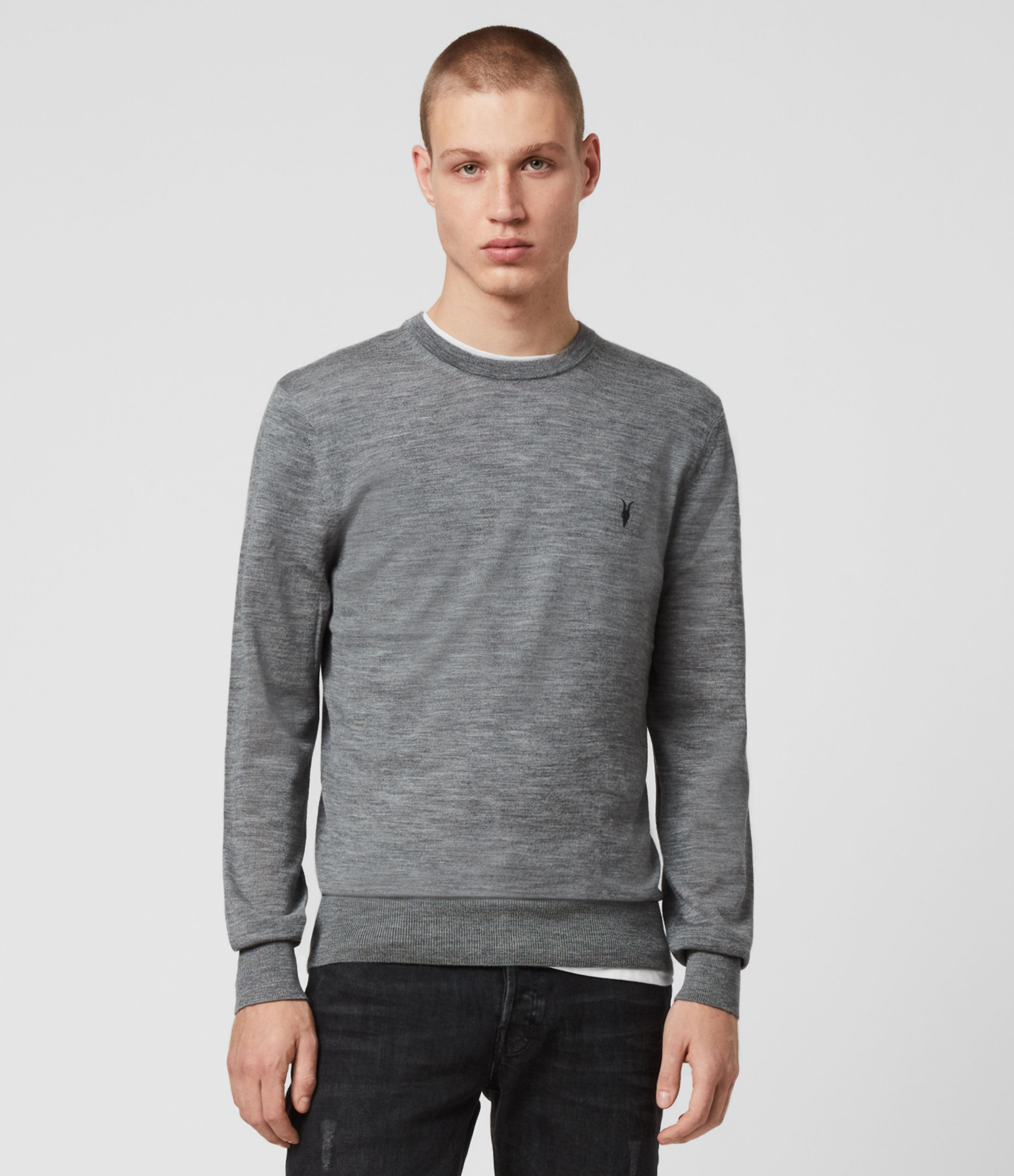 AllSaints Men's Lightweight Merino Wool Mode Crew Jumper, Grey, Size: XXL