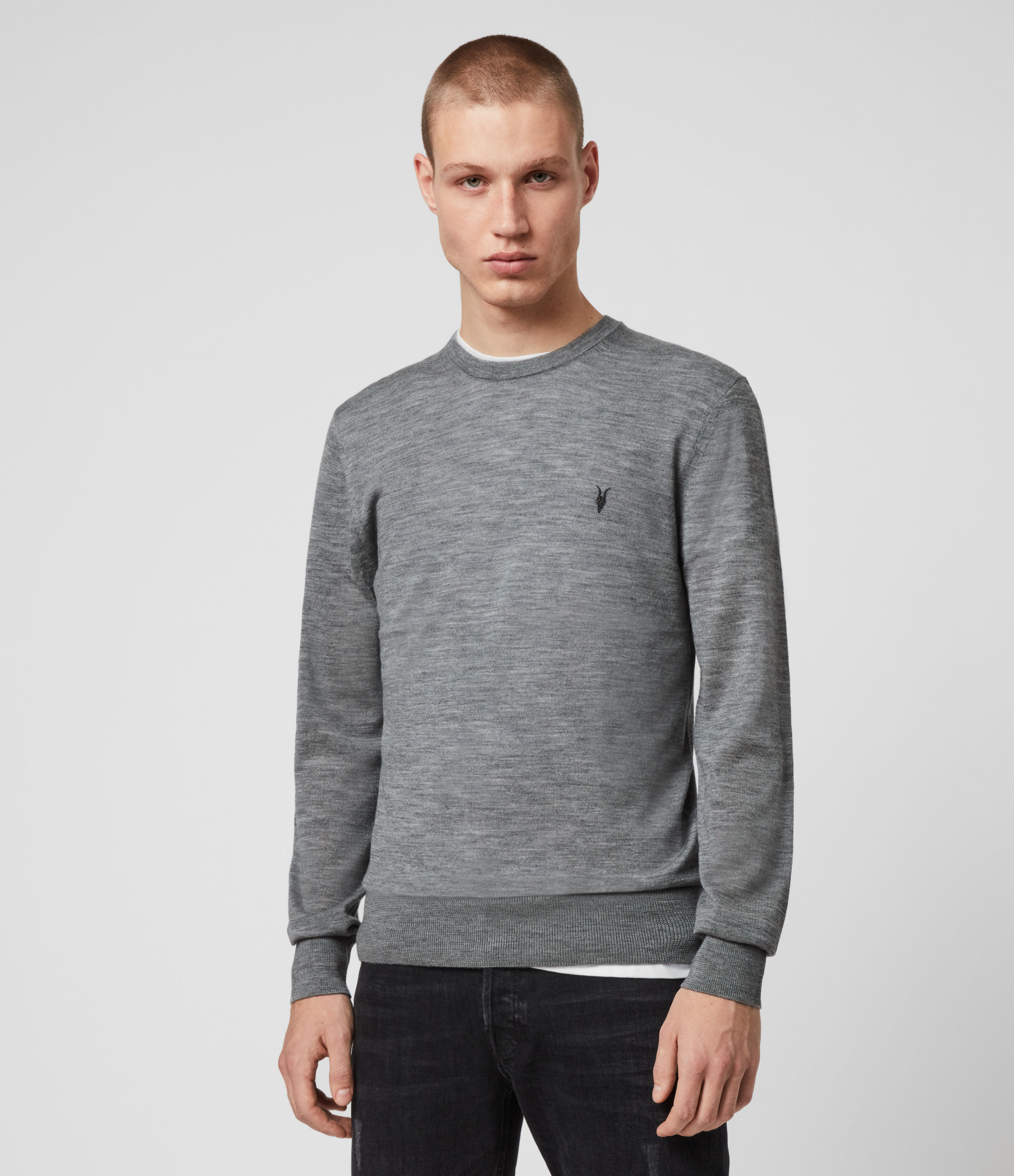 AllSaints Men's Merino Wool Lightweight Mode Crew Jumper, Grey, Size: L