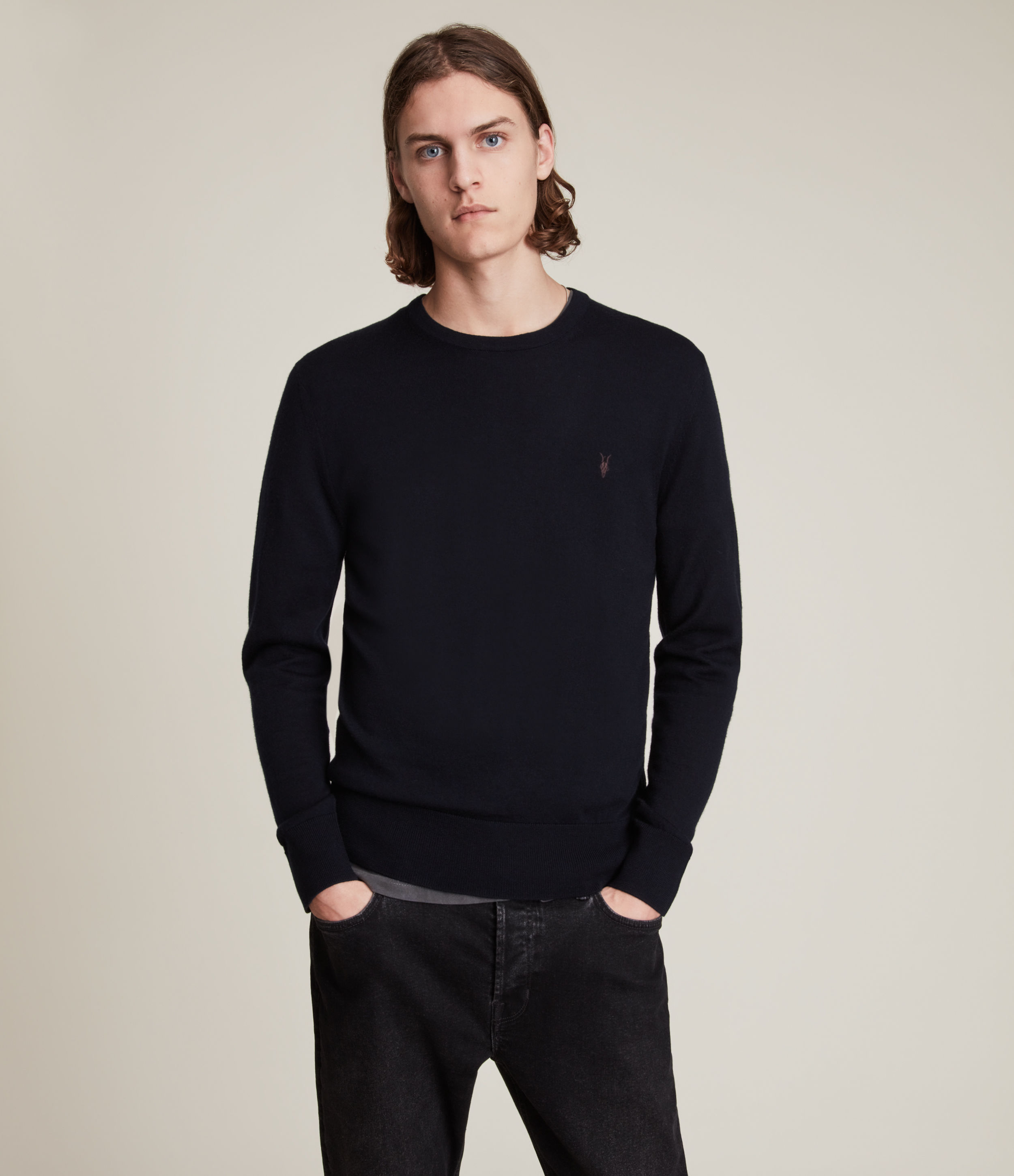 AllSaints Men's Lightweight Merino Wool Mode Crew Jumper, Blue, Size: S